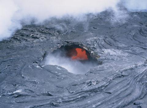 空撮 キラウェアの溶岩 ハワイ島