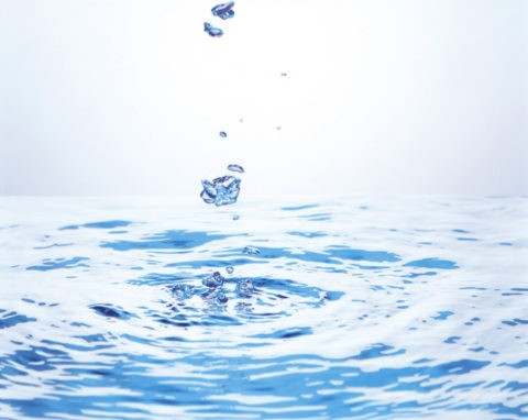 水面と浮上する泡