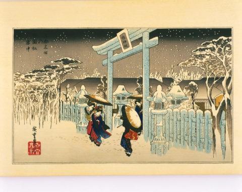 京都名所 祇園社 雪中