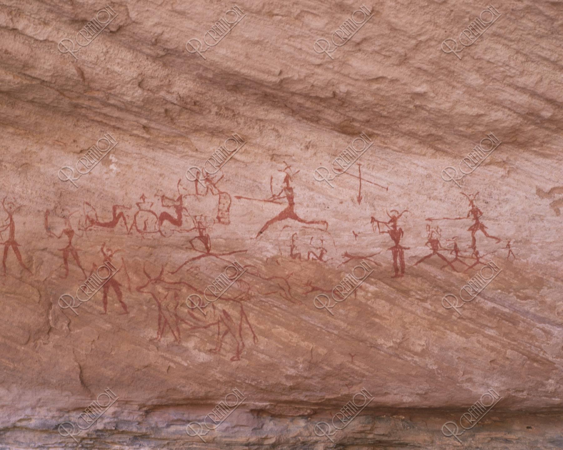岩壁画 狩猟 W.H