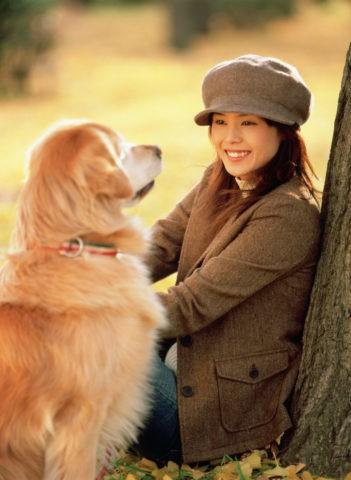 銀杏の中に座る女性と犬