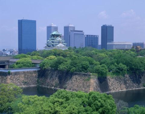 新緑の大阪城と高層ビル