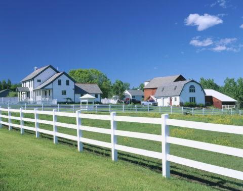 白い柵と牧場
