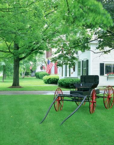 馬車と白い住宅