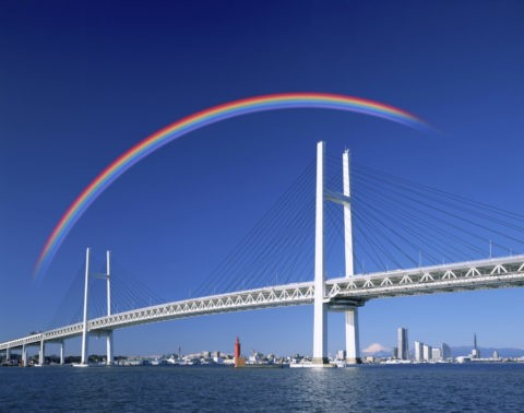 ベイブリッジと虹(創作)