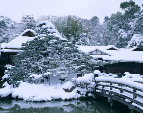 玄宮園と彦根城 雪景