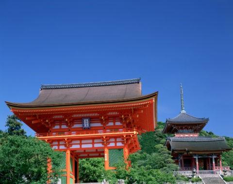 新緑の清水寺仁王門と三重塔 世界遺産