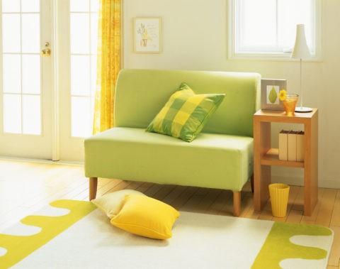 グリーンソファーとクッション