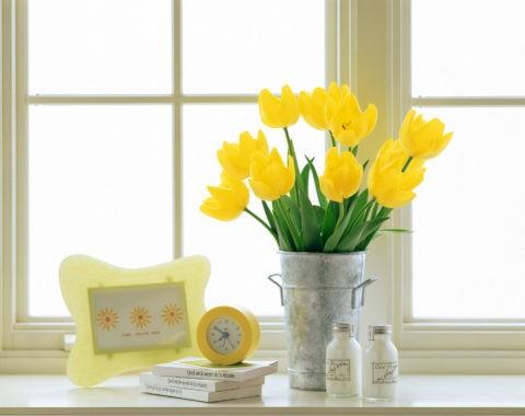 窓辺の黄色いチューリップと時計