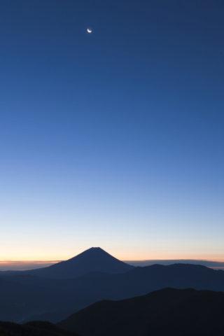 富士山 残月