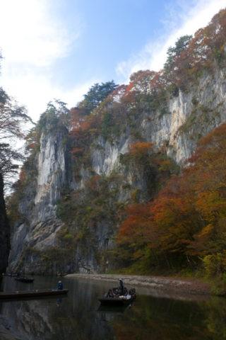猊鼻渓 紅葉と観光船