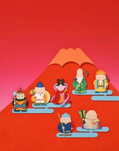 七福神と富士山 クラフト