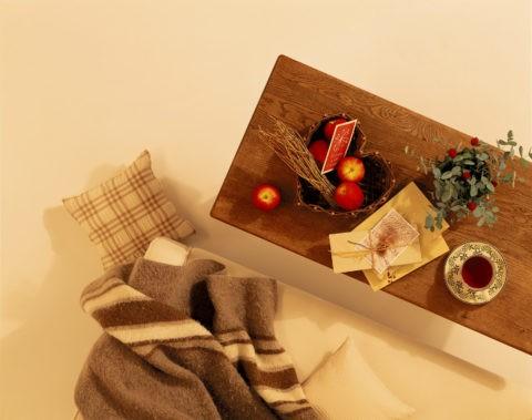 ソファと毛布とリンゴ