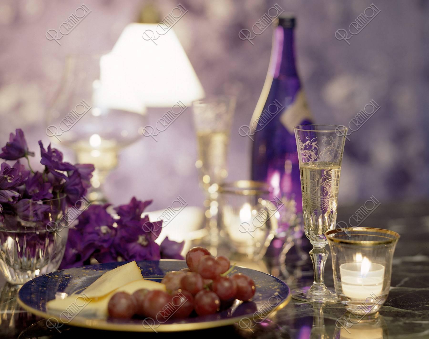 キャンドルとワイン