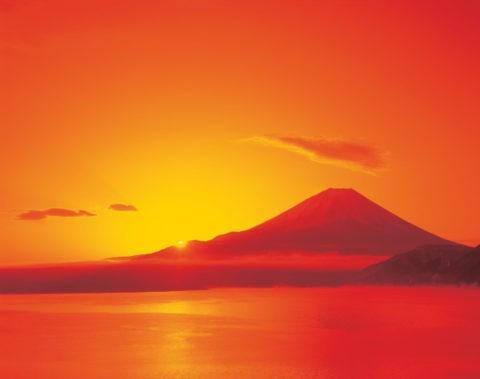 日の出と富士山と本栖湖