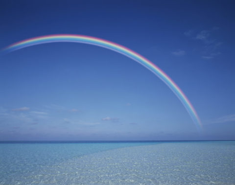 海と虹 モルジブ