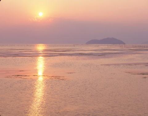 竹生島 夕照