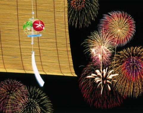 花火と風鈴(合成)