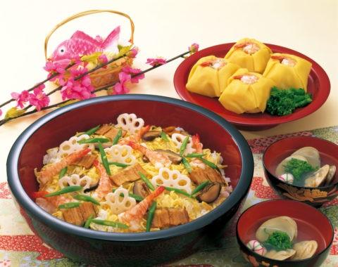 ちらし寿司と蛤のすまし汁