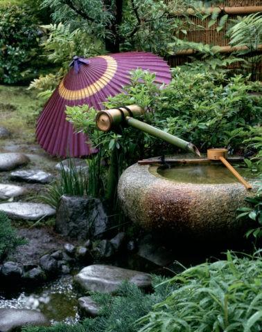 つくばいと傘