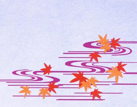 和風切り絵 流れと紅葉