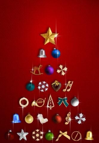 赤背景のクリスマスツリーイメージ
