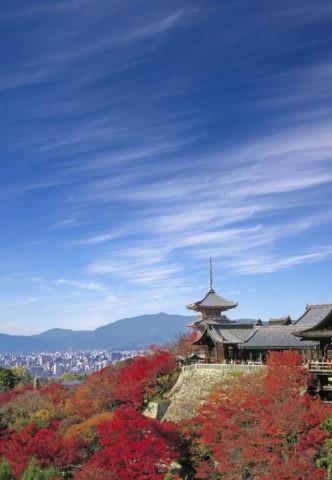 秋の清水寺と市内遠望