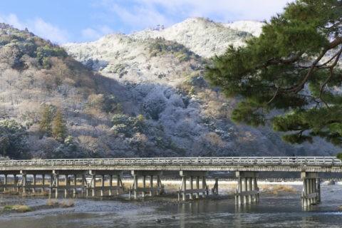 嵐山渡月橋雪景色