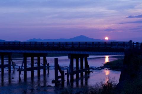 渡月橋 朝日