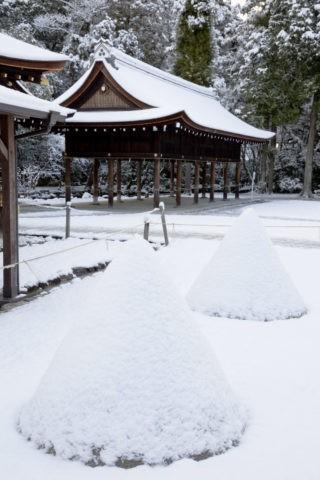 雪の上賀茂神社 立砂
