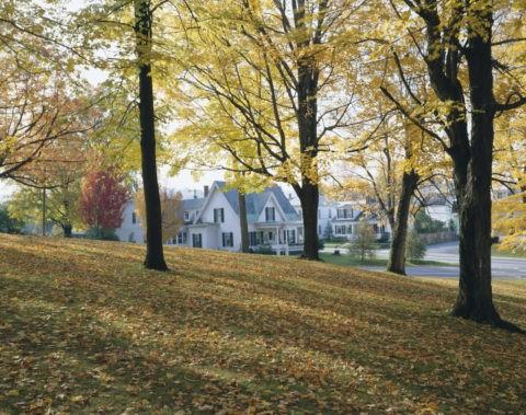 黄葉と白い家 バーモント