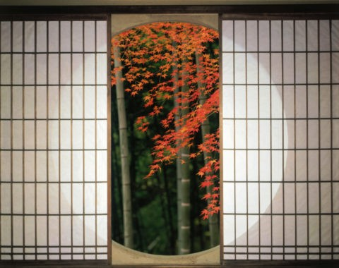 丸窓と紅葉と竹林 C.G.合成