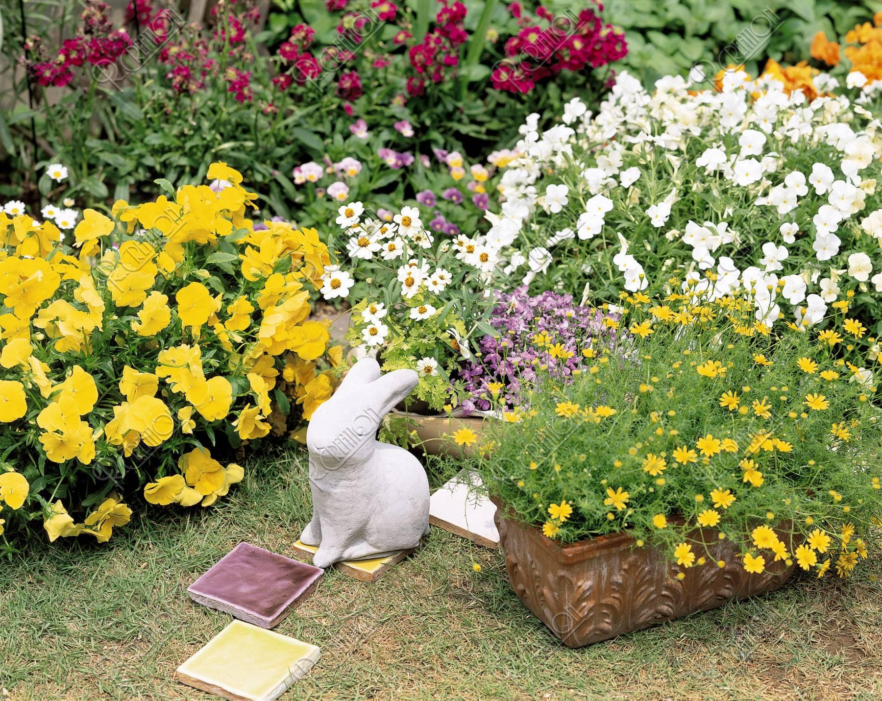 花壇とうさぎの置物