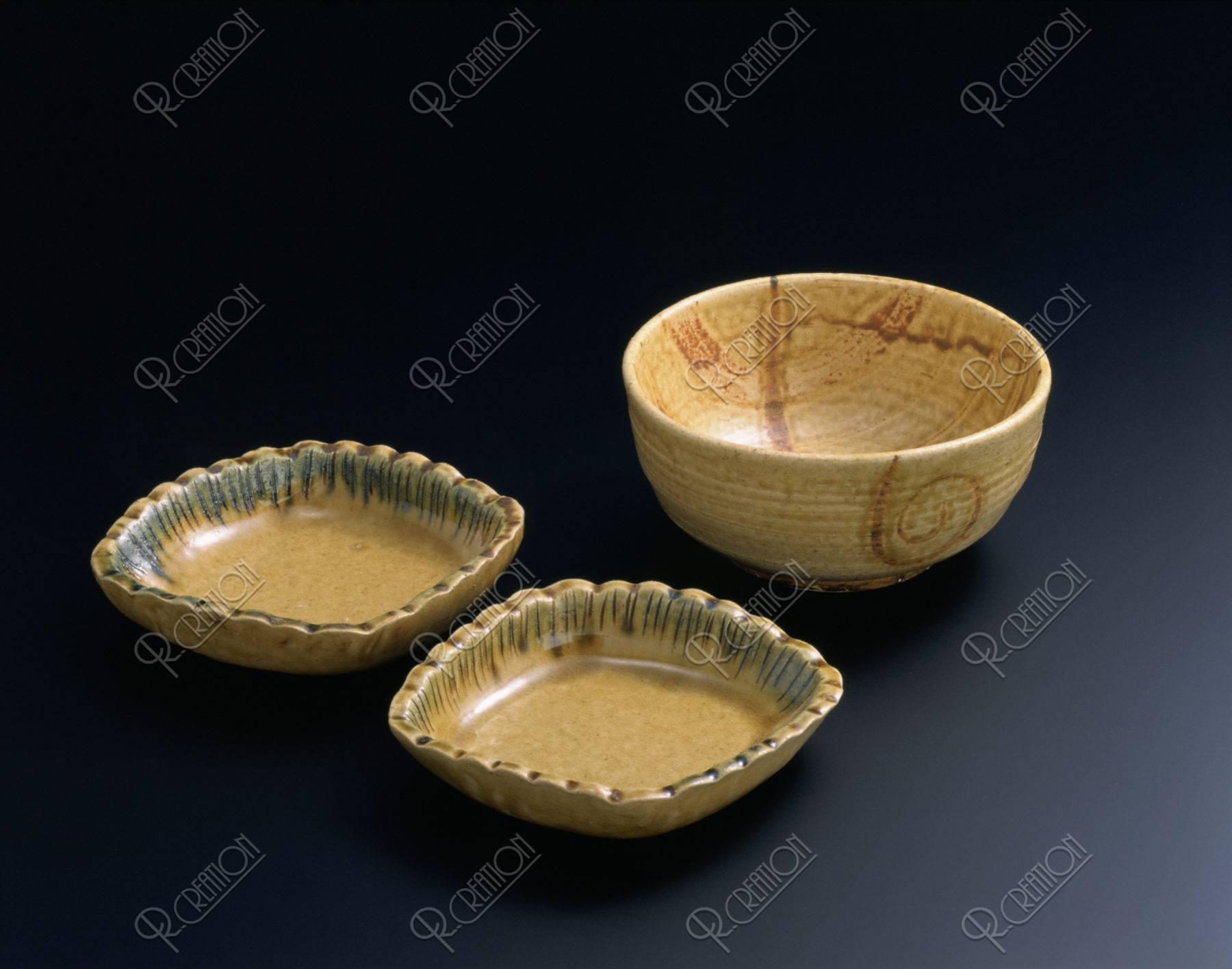 瀬戸焼 黄瀬戸皿と鉢