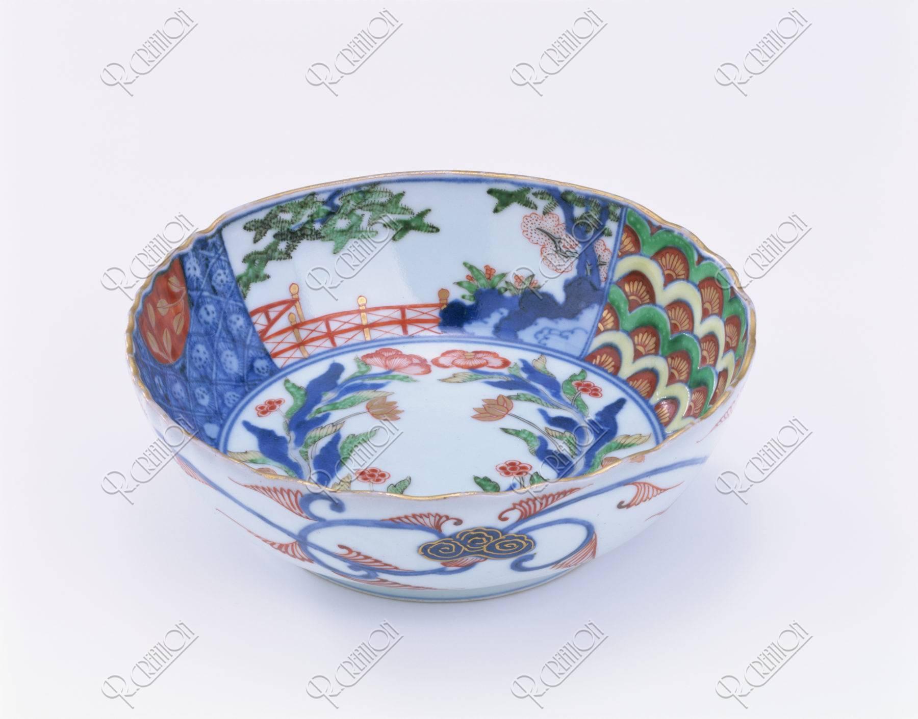 古伊万里 色絵 青海波花文 鉢
