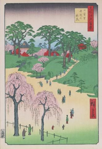 江戸百景 日暮里寺院の林泉