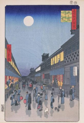 江戸百景 猿若町夜の景