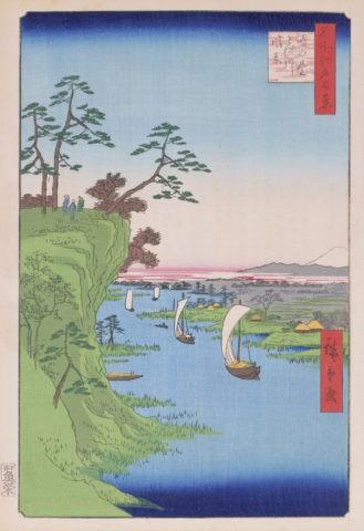 名所江戸百景 鴻の臺利根川風景