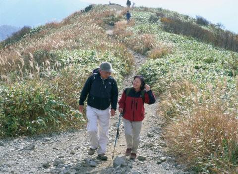 登山をする中高年夫婦