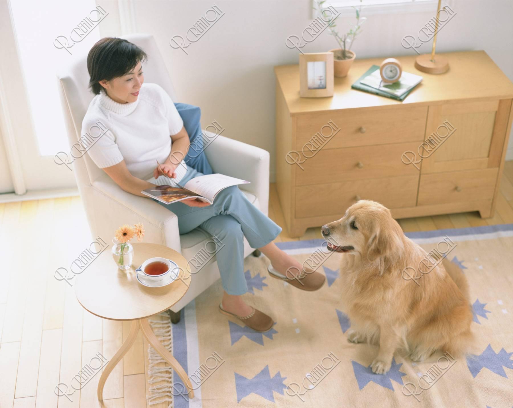 本を読む女性と犬