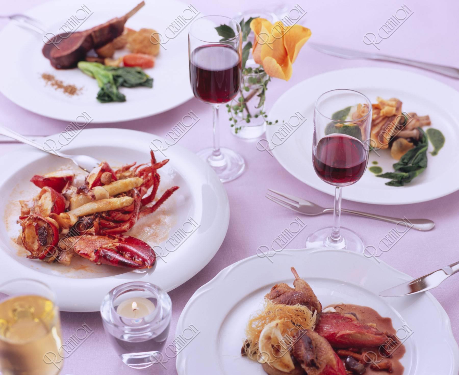 フランス料理4種とワイン