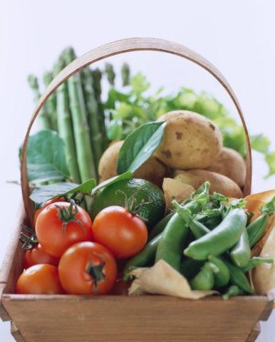 篭に盛った野菜