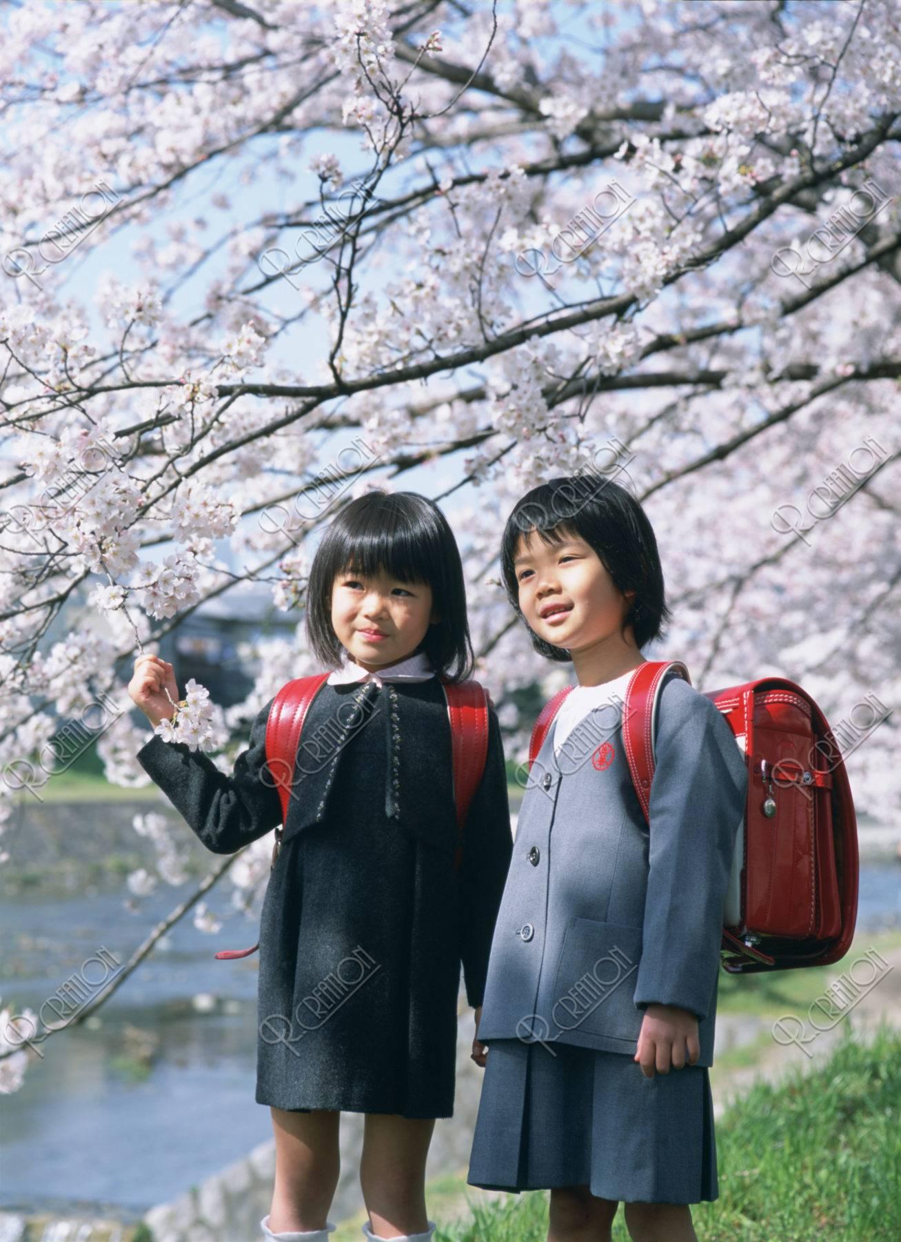 桜の花と2人の新入生