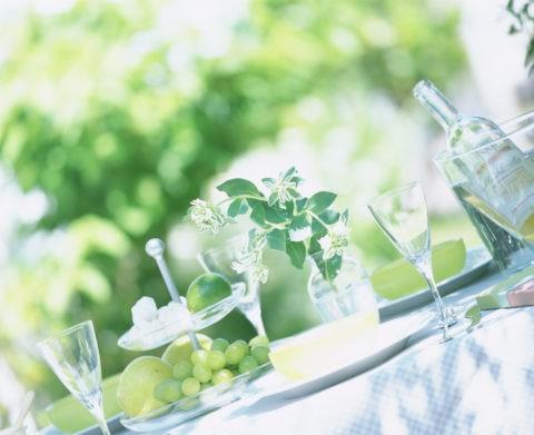 ガーデンランチ ワインと果物