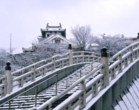 雪の昇龍橋と福知山城