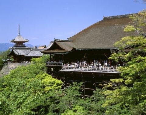 新緑の清水寺舞台 世界遺産