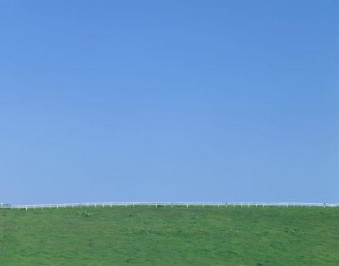 牧場と柵 日高 北海道