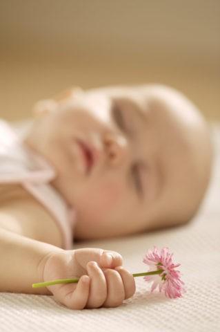 眠る赤ちゃんと花を持つ手