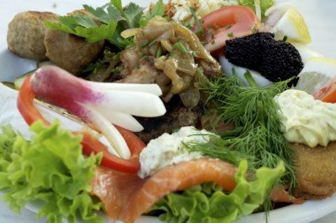 デンマーク料理 サケ、タラ、キャビア