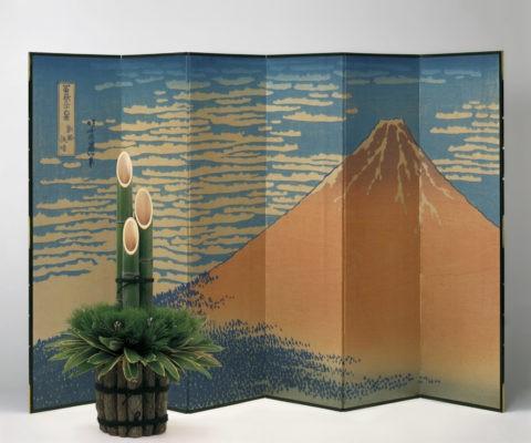 門松 屏風 富士山 正月 合成
